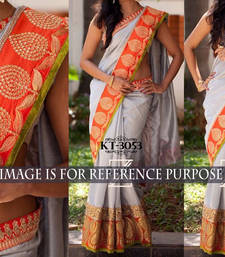 Buy Light grey embroidered georgette saree with blouse hand-woven-saree online
