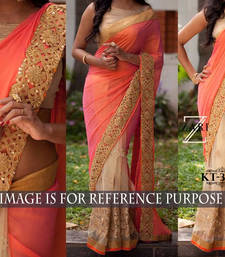 Buy Multicolor embroidered georgette saree with blouse hand-woven-saree online