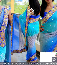 Buy Sky blue embroidered georgette saree with blouse bridal-saree online