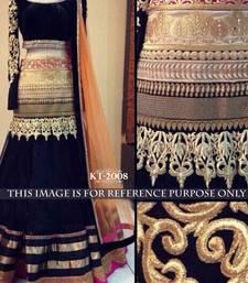 Buy Black embroidered georgette unstitched lehenga bridal-lehenga online