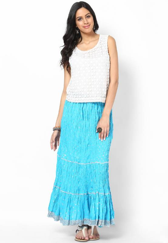 Buy Beautiful Sky Blue Cotton Skirt Online