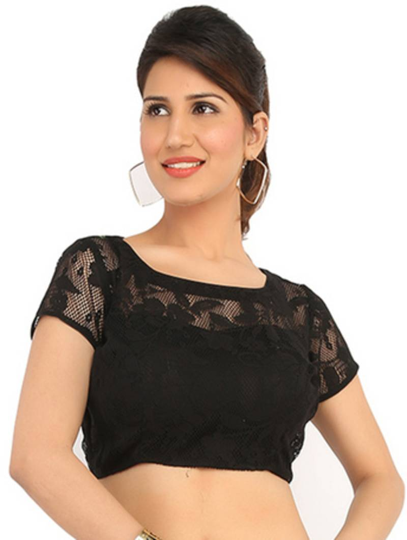 Buy Black Boat Neck Lace Ready Made Blouse Online