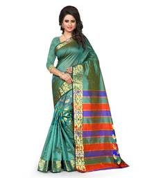 Buy Turquoise printed tussar silk saree with blouse tussar-silk-saree online