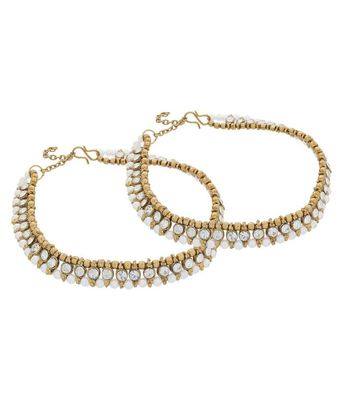 Antique Multi Color Gold Plated Anklet