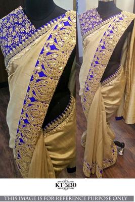 Beige nylon silk designer saree