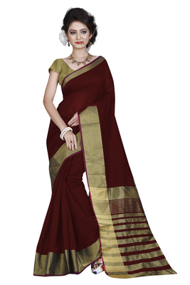 Maroon printed cotton silk saree with blouse