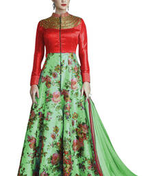 Buy Green and red printed bhagalpuri cotton semi stitched salwar with dupatta semi-stitched-salwar-suit online
