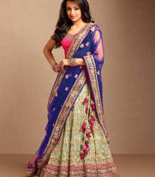 Buy Blue embroidered net unstitched lehenga ghagra-choli online
