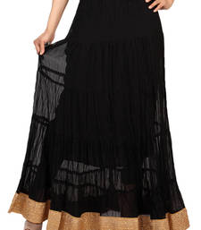 Buy Black chiffon plain free size skirts long-skirt online