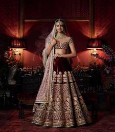 Buy Dark maroon embroidered velvet unstitched lehenga bridal-lehenga online