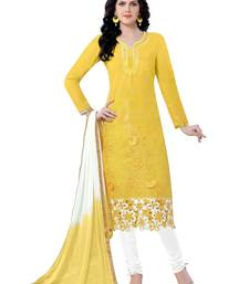 Buy Yellow embroidered cotton poly unstitched salwar with dupatta ready-to-ship-salwar-kameez online