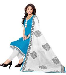 Buy Blue embroidered cotton poly unstitched salwar with dupatta ready-to-ship-salwar-kameez online