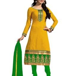 Buy Yellow embroidered faux chanderi unstitched salwar with dupatta ready-to-ship-salwar-kameez online