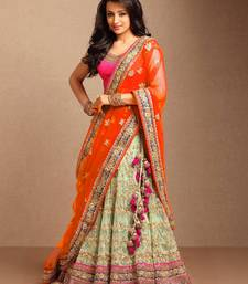 Buy Orange embroidered net unstitched lehenga lehenga-saree online