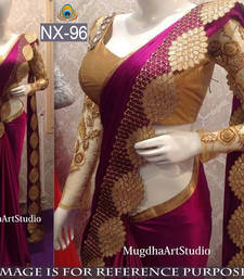 Buy Maroon embroidered paper cotton saree with blouse wedding-saree online