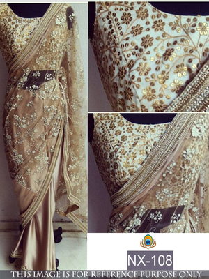 Cream embroidered nylon saree with blouse