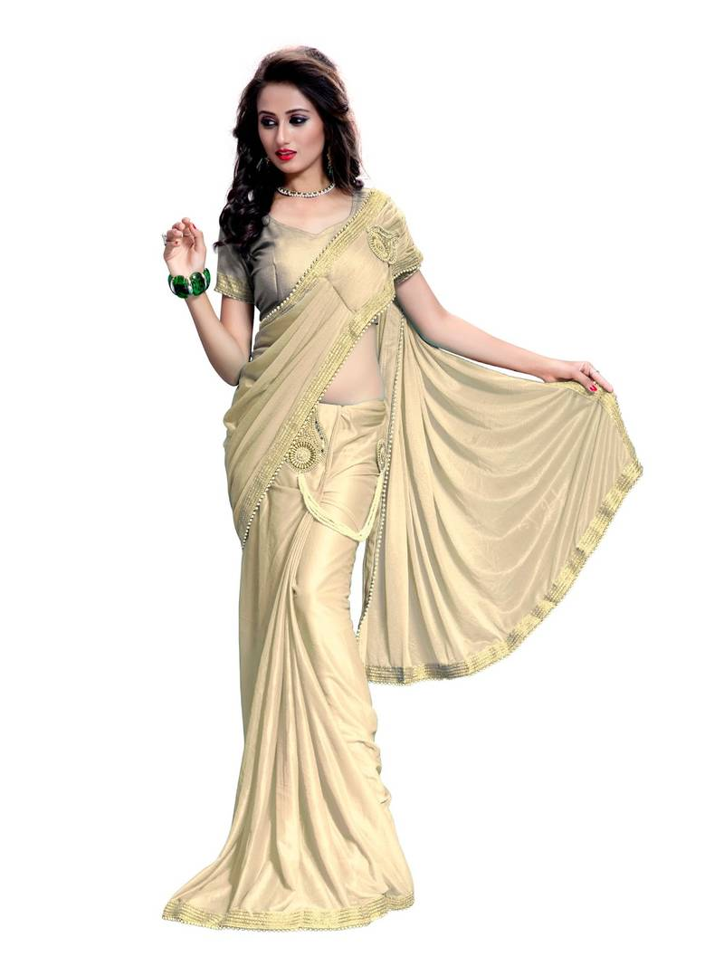 Buy Gold Plain Lycra Saree With Blouse Online