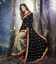 Buy Black With Gold Zari Buttas & Embroidered Patch Border Designer Sari 7001 party-wear-saree online
