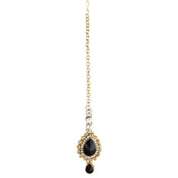 Exotic Gold Finish Black Austrian Stone Maang Tikka