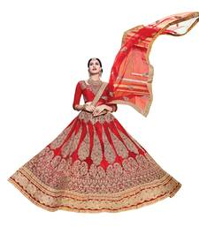 Buy Red embroidered net unstitched lehenga black-friday-deal-sale online