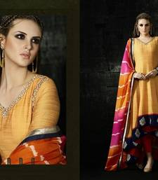 Buy Yellow embroidered art silk semi stitched salwar with dupatta party-wear-salwar-kameez online