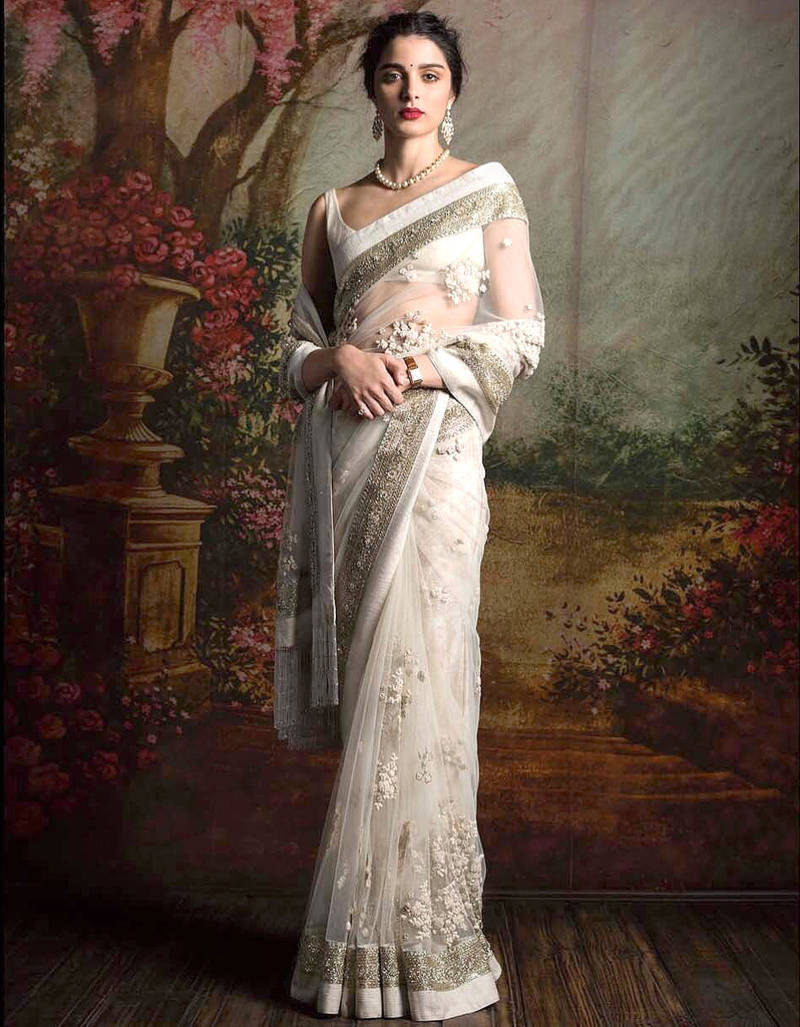 Buy White Embroidered Net Saree With Blouse Online