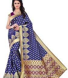 Buy Blue printed banarasi silk saree with blouse banarasi-saree online