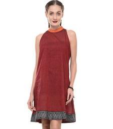 Buy Women's Designer Maroon Mangalgiri Dress With Printed Border dress online