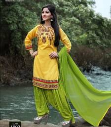 Buy Yellow embroidery cotton semi stitched salwar with dupatta patiala-salwar online