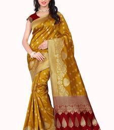 Buy Yellow printed banarasi silk saree with blouse banarasi-saree online