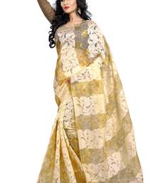 Buy Beige embroidered tissue saree with blouse tissue-saree online