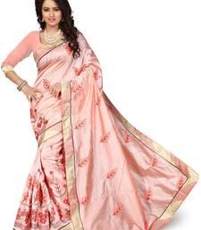 Buy Peach embroidered art silk saree with blouse chanderi-saree online