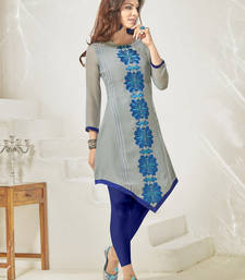 Buy Grey embroidered georgette party-wear-kurtis party-wear-kurti online