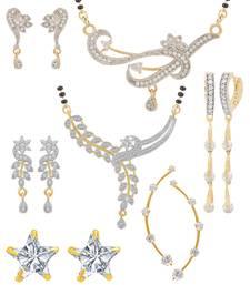Buy Multicolor cubic zirconia mangalsutra jewellery-combo online
