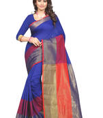 Buy Blue embroidery silk saree with blouse