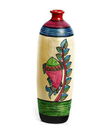 Buy Beautiful Terracotta Vase with Fish and Leaf Branch Motifs vase online