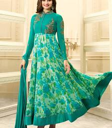 Buy Cyan embroidered georgette semi stitched salwar with dupatta anarkali-salwar-kameez online