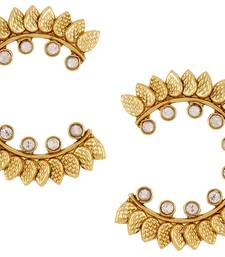 Buy Leaf Chaand 18K Gold Plated Kundan Polki Designer Stud Earring For Women stud online
