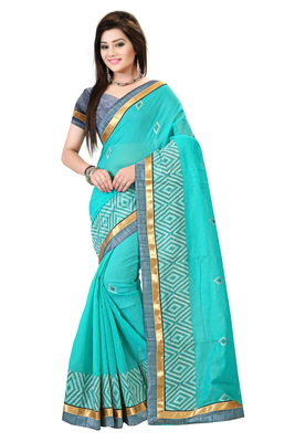Sea green embroidered cotton saree with blouse