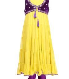 Buy Yellow crepe plain kids salwar suits kids-salwar-suit online