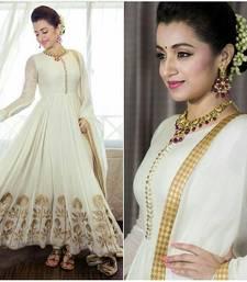 Buy White embroidered art silk unstitched salwar with dupatta party-wear-salwar-kameez online