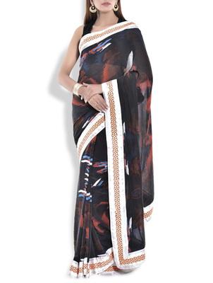 Muticolour lehnga saree georgette saree with blouse