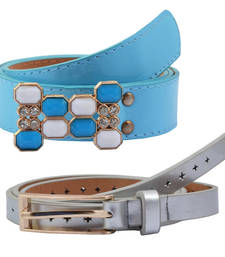 """Buy """" Blue and Silver Color"""" Belt Combo For Womens gifts-for-sister online"""