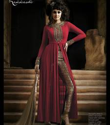 Buy Red embroidered georgette semi stitched salwar with dupatta abaya-suit online