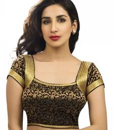 Buy Black and gold brocade designer blouse fabric blouse-fabric online