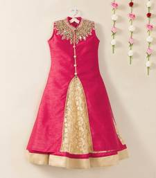 Buy Pink banglori flared kids anarkali indo western style wedding wear kids wear gown kids-lehenga-choli online