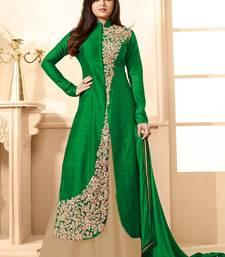 Buy Green  Embroidered Banglori Silk Anarkali Semi-stitched Indowestrn Suit indowestern online