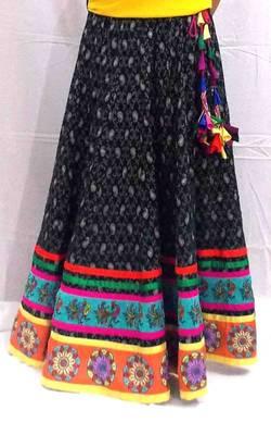 Black cotton jacquard self paisley skirt