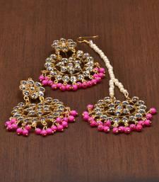 Buy Pink pearl danglers-drops jewellery-combo online