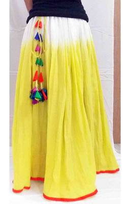 Sunny yellow ombre dyed gathered long skirt
